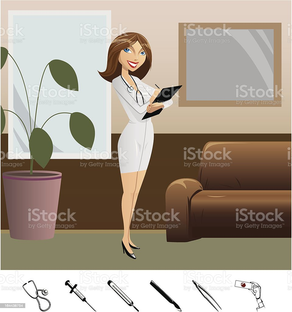girl doctor and medical icons royalty-free stock vector art