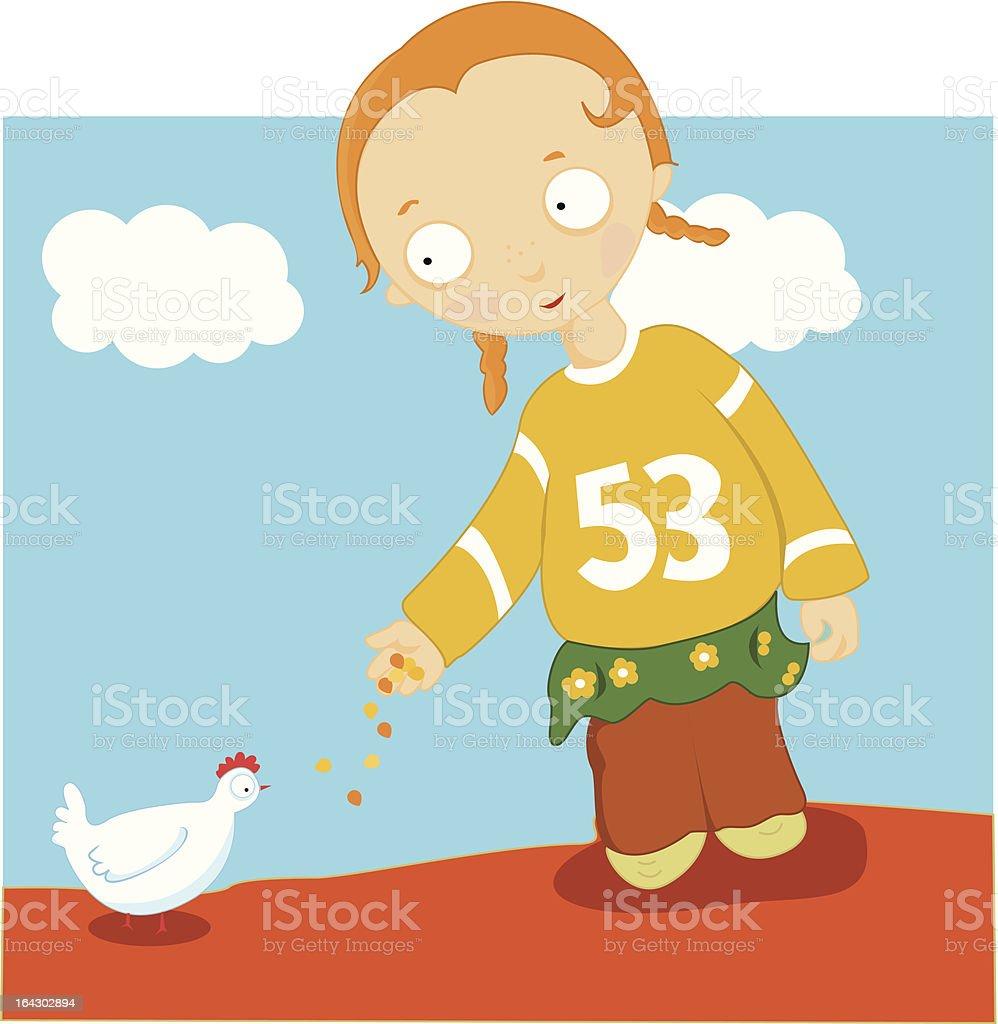 girl feeding chicken royalty-free stock vector art