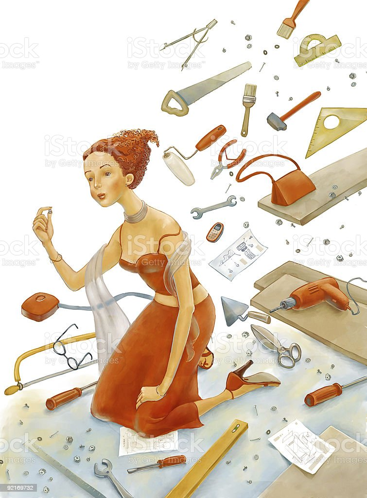 girl has found the screwbolt vector art illustration