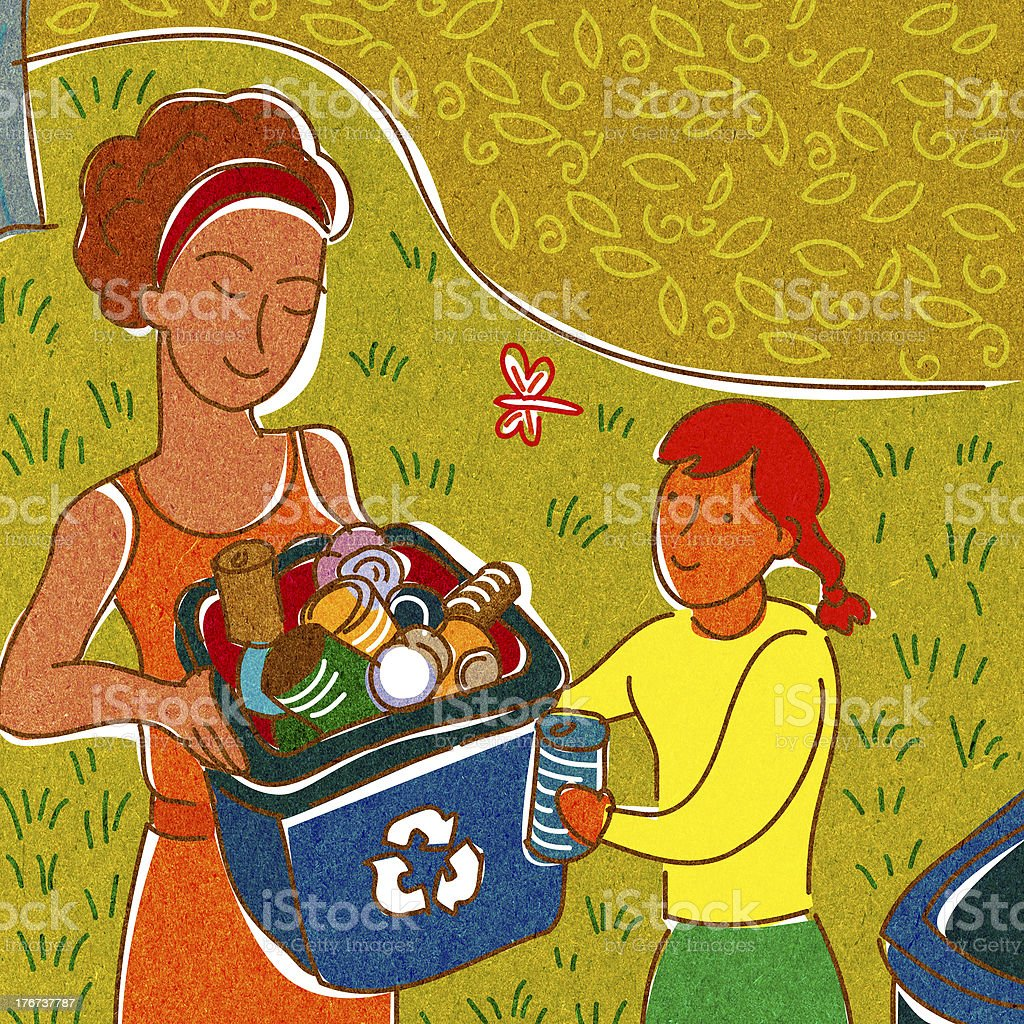 girl helping a woman recycle royalty-free stock vector art