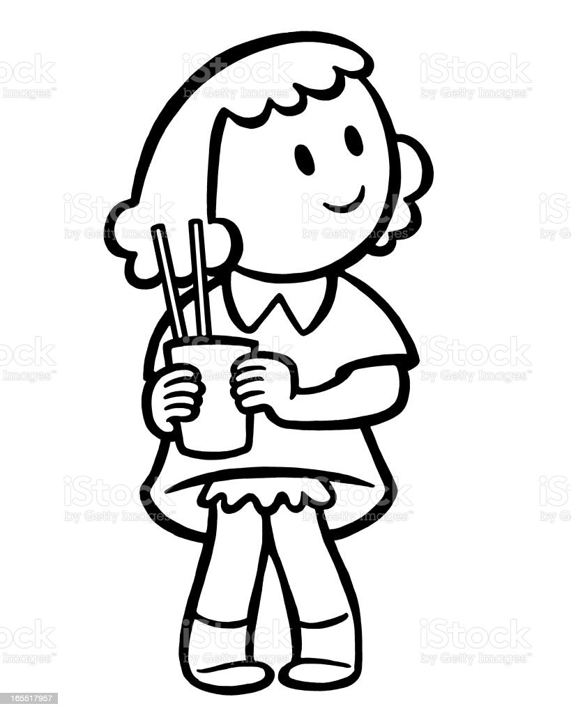 Girl Holding a Glass with Straws royalty-free stock vector art