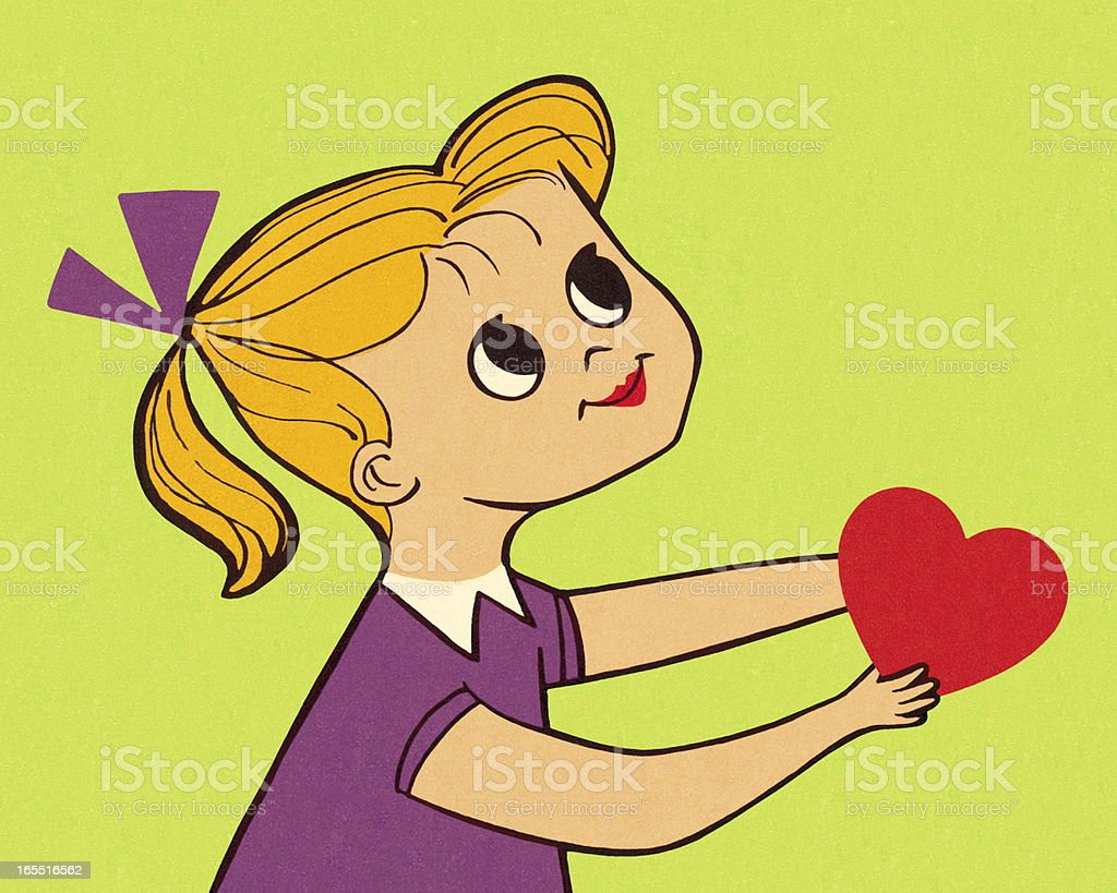 Girl Holding a Heart royalty-free stock vector art