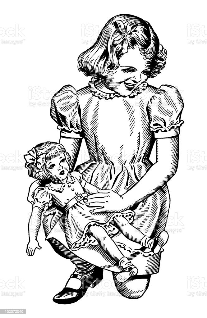 Girl Holding Doll royalty-free stock vector art