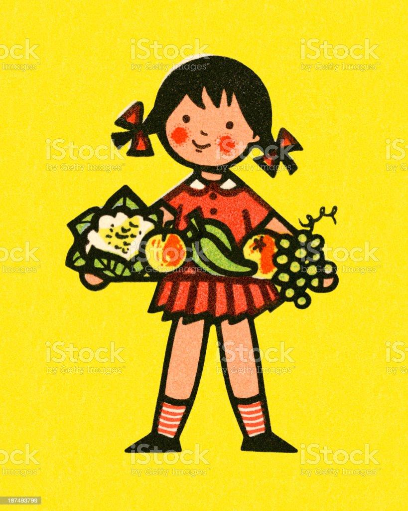 Girl Holding Fruit royalty-free stock vector art