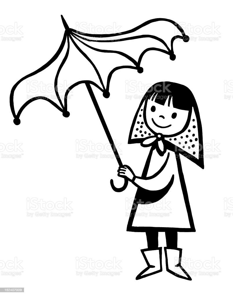 Girl Holding Umbrella royalty-free stock vector art