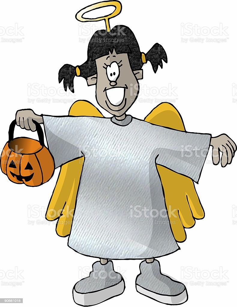 Girl in an Angel costume royalty-free stock vector art