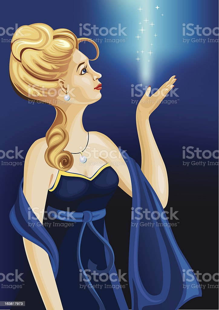 girl in blue gown royalty-free stock vector art