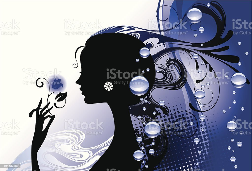 Girl in blue vector art illustration