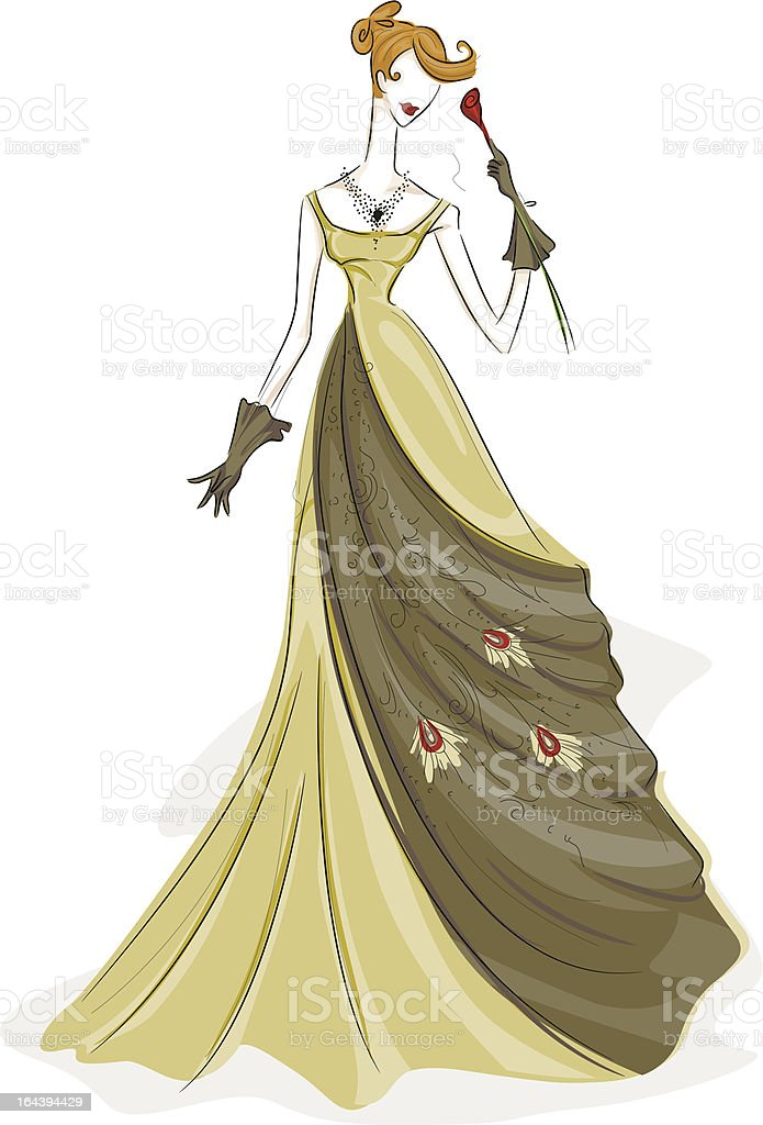 Girl in Gown royalty-free stock vector art