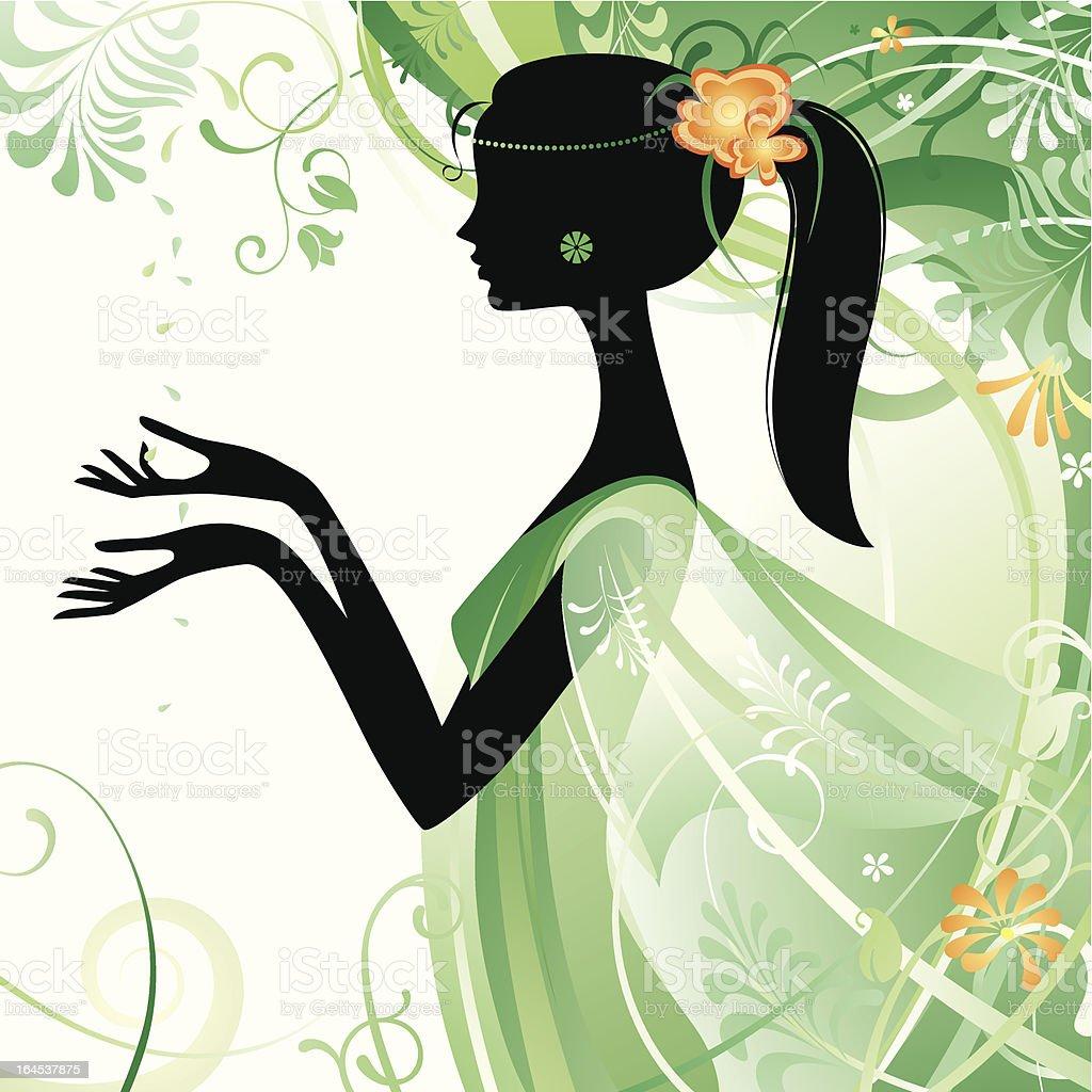 Girl in green royalty-free stock vector art