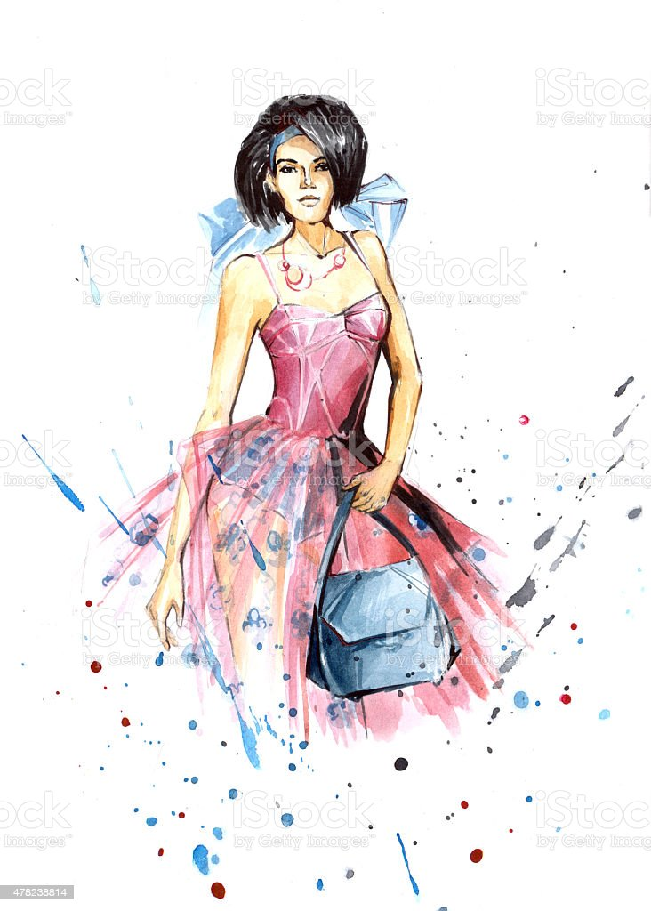 Girl in pink royalty-free stock vector art