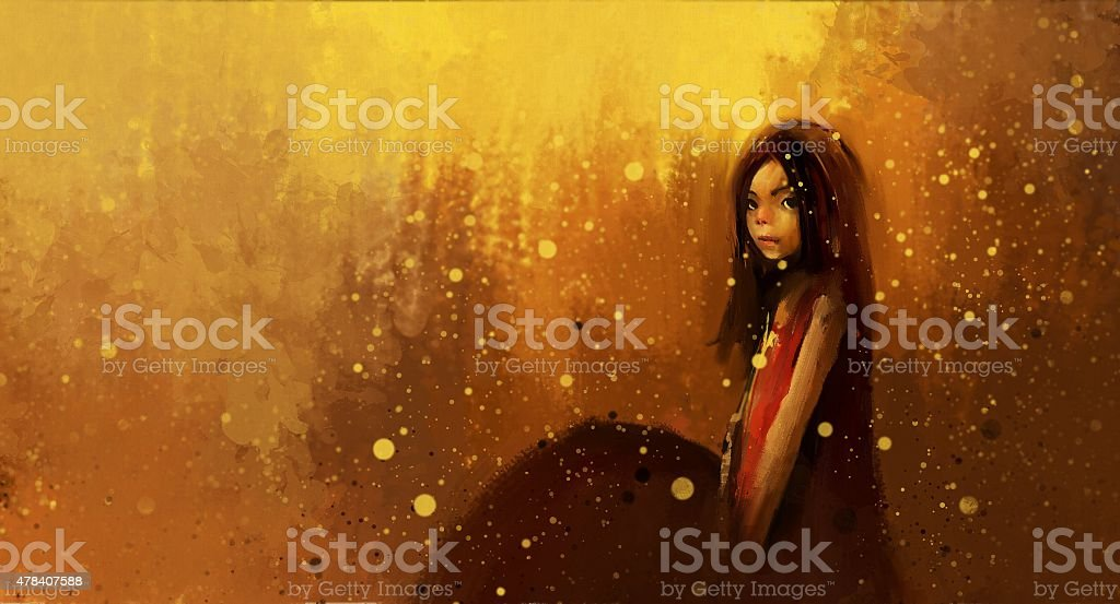 Girl in red dress with umbrella in the rain vector art illustration