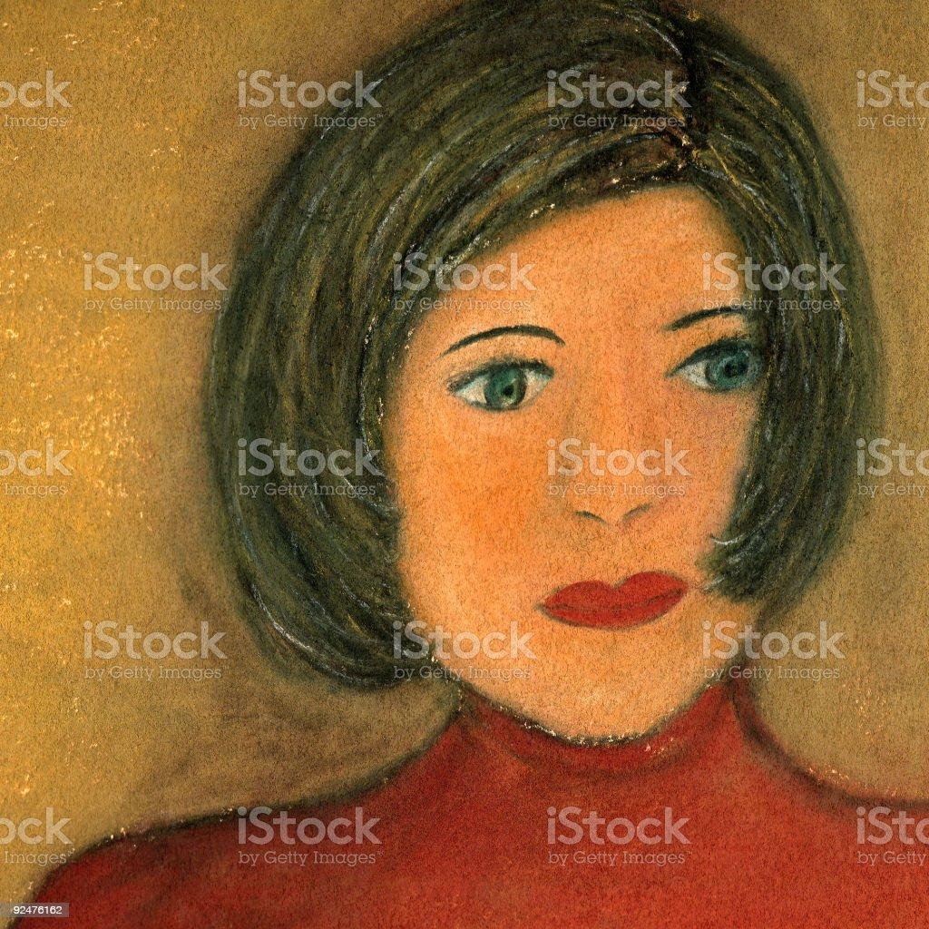 Girl in Red Sweater vector art illustration