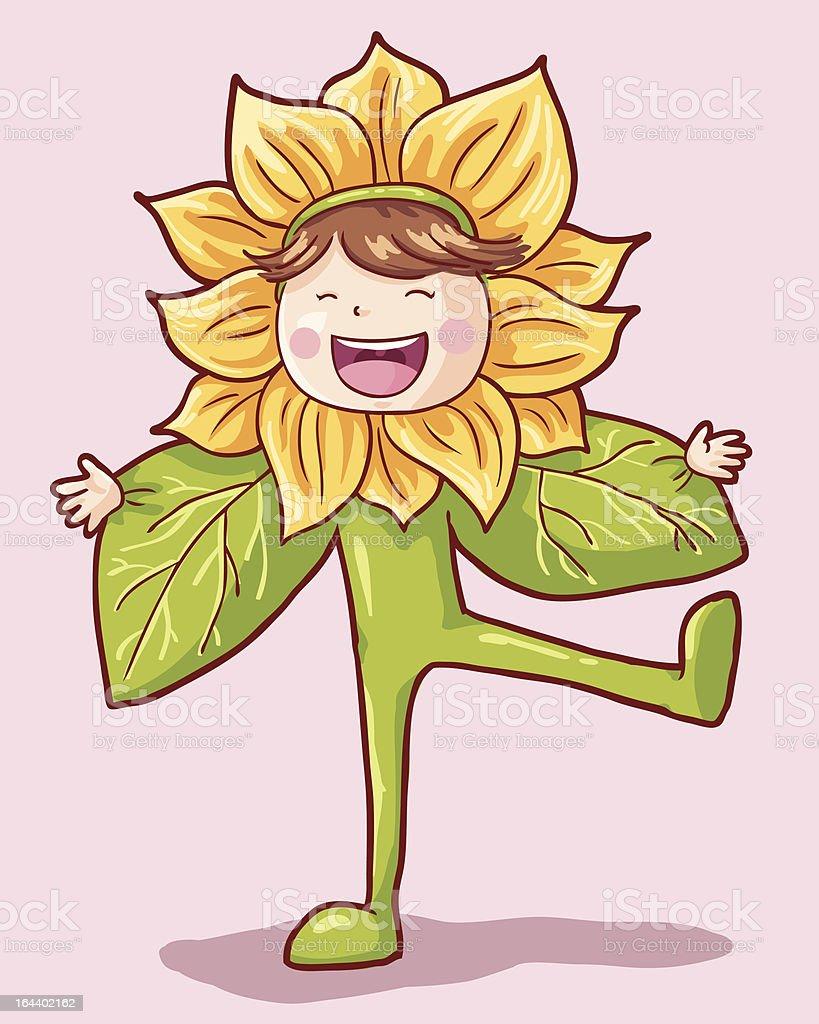 Girl in Sunflower Costume royalty-free stock vector art