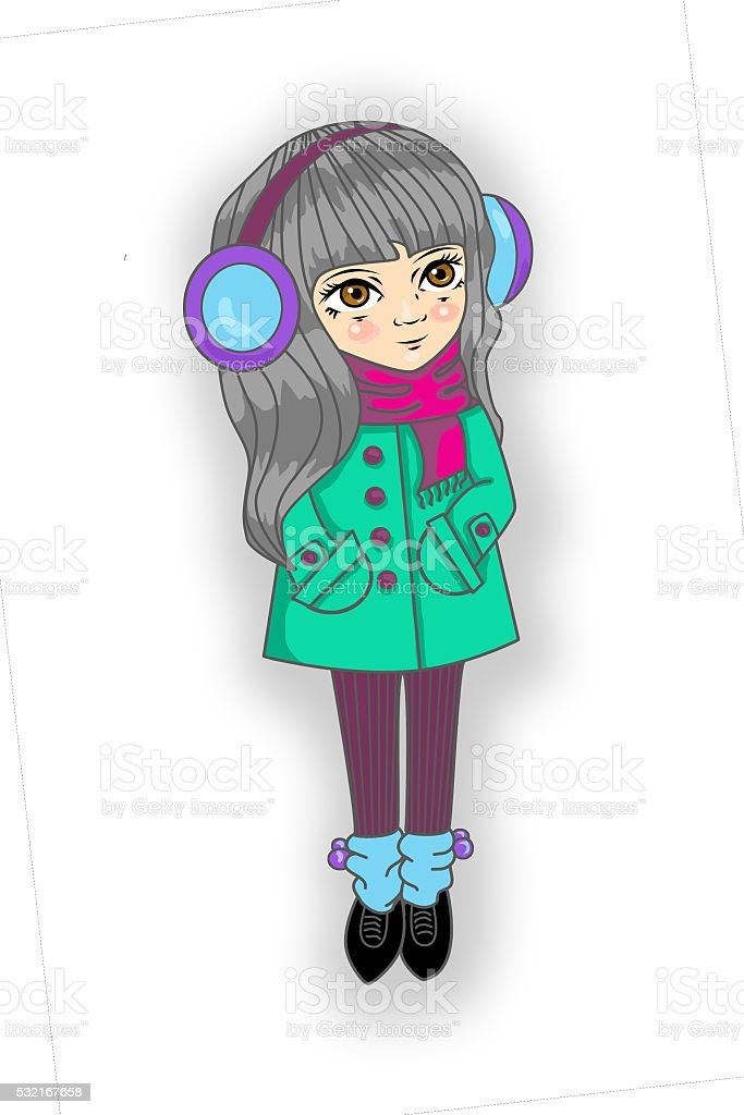 girl long hair in coat and scarf, gaiters  headphones earmuffs vector art illustration