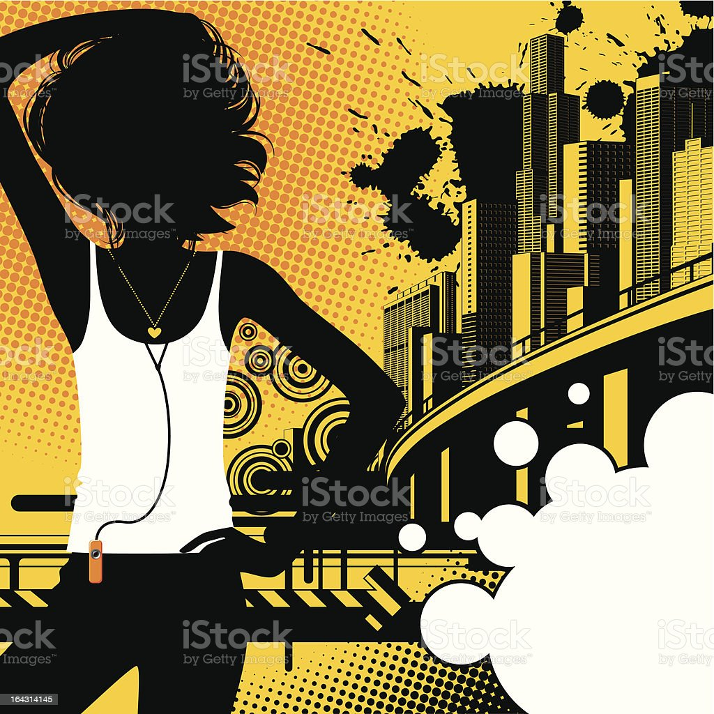 Girl on a city background royalty-free stock vector art