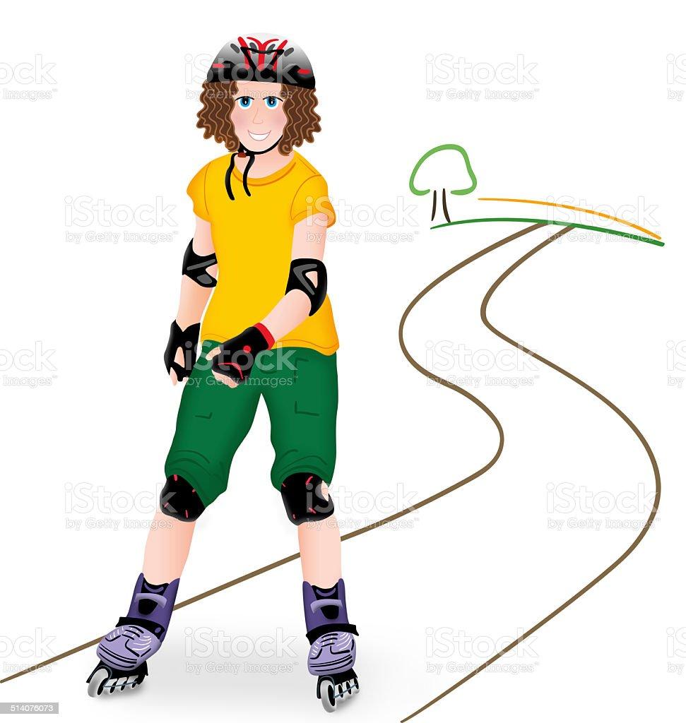 Girl on in-line skates royalty-free stock vector art