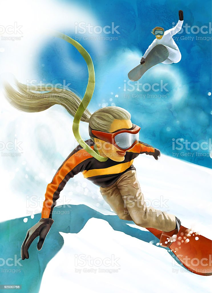 girl on snowboard royalty-free stock vector art