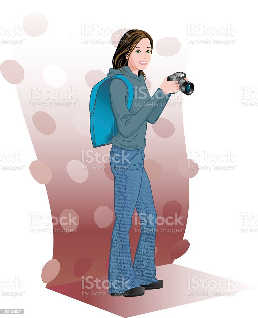 Girl Photographer royalty-free stock vector art