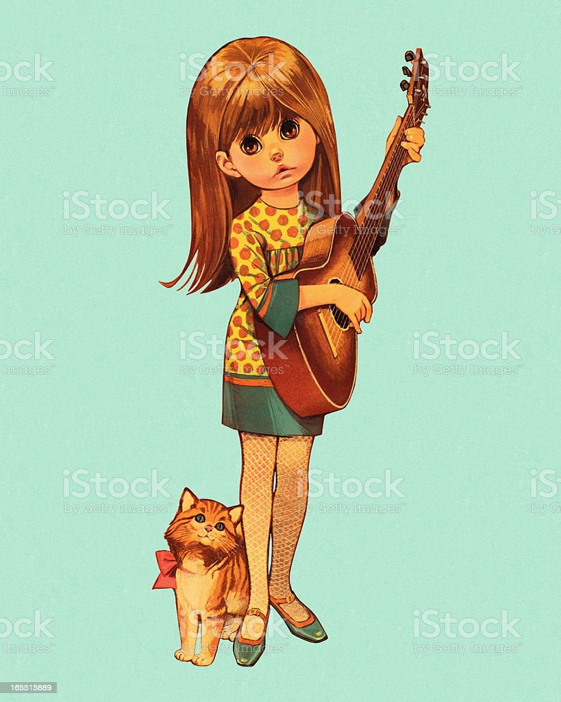 Girl Playing the Guitar royalty-free stock vector art