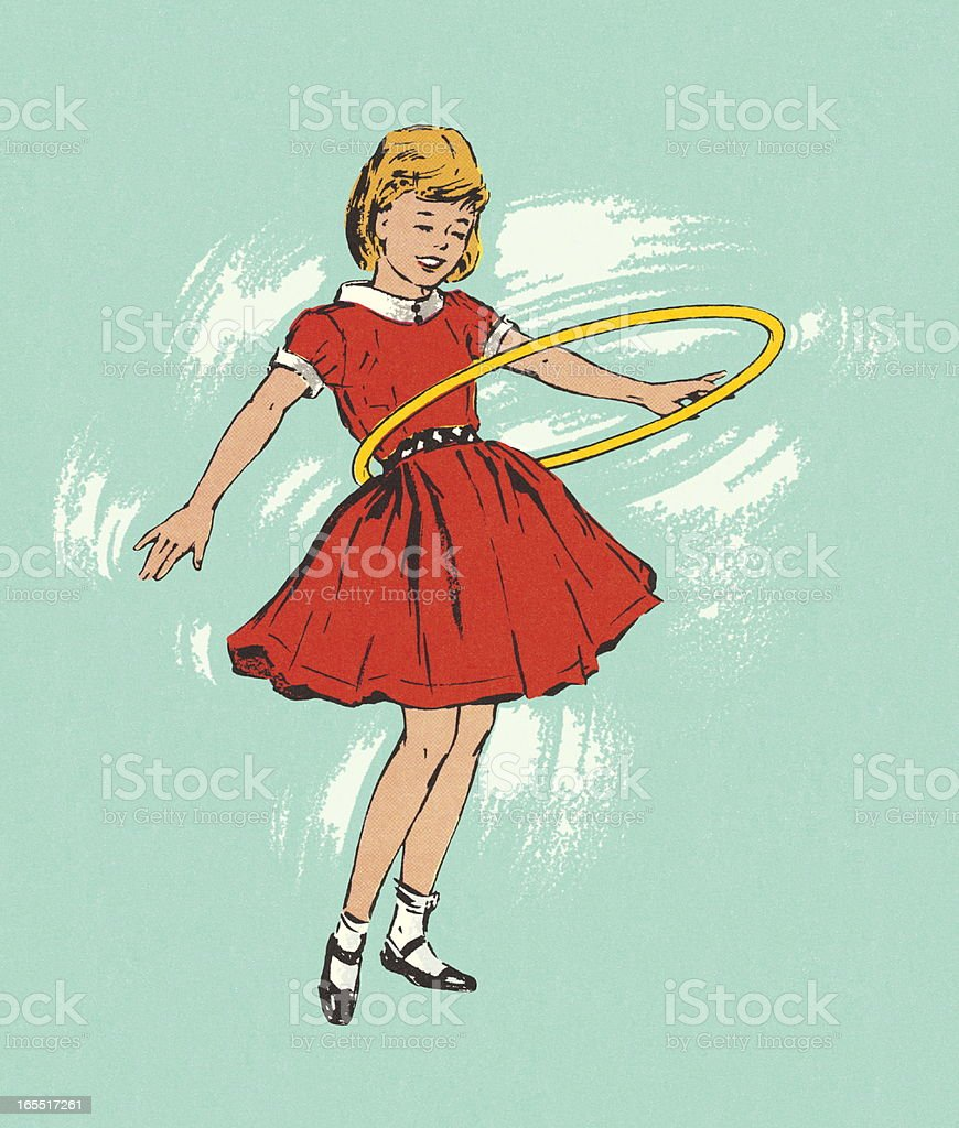 Girl Playing with a Hula Hoop vector art illustration
