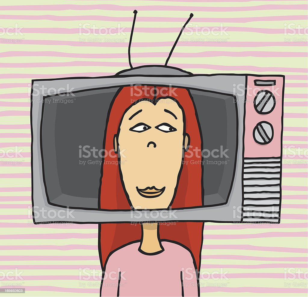 Girl playing with old tv set vector art illustration