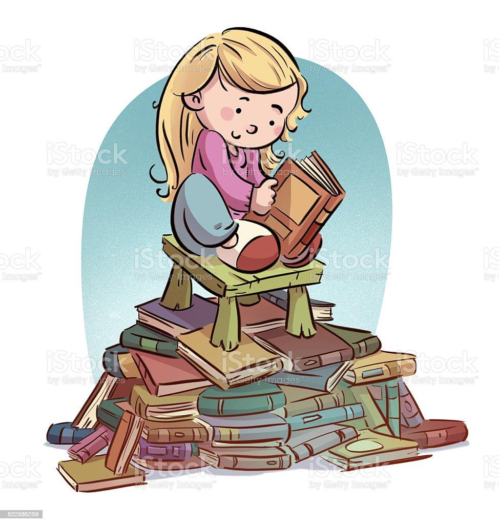 girl reading a lot of books vector art illustration
