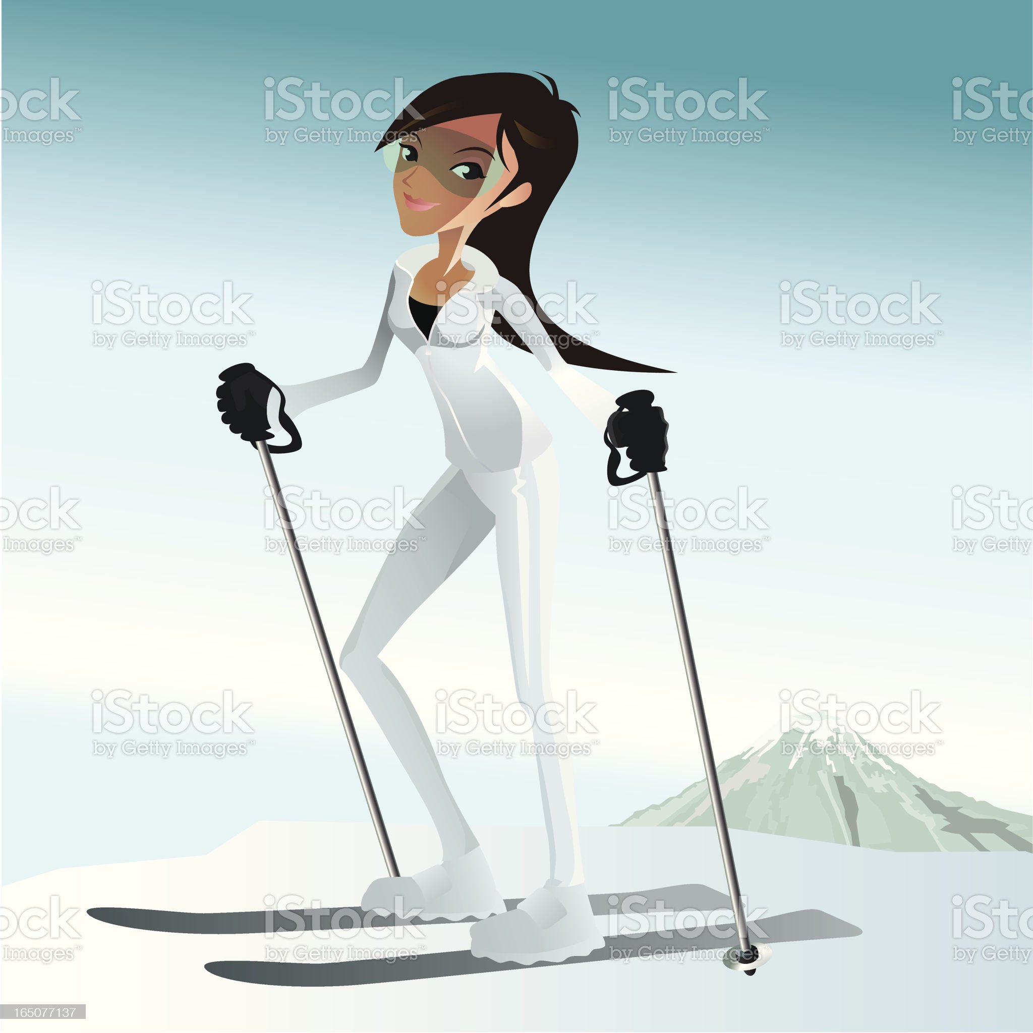 girl ready to ski royalty-free stock vector art