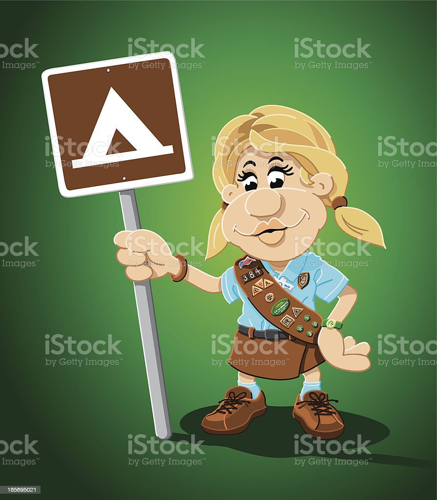 Girl Scout Cartoon Woman Campground Sign royalty-free stock vector art