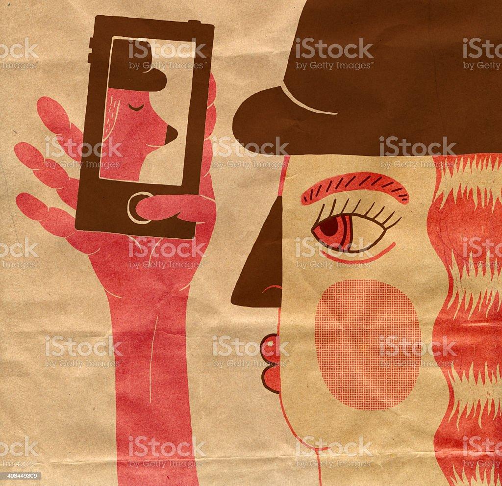 Girl taking selfie on mobile phone vector art illustration
