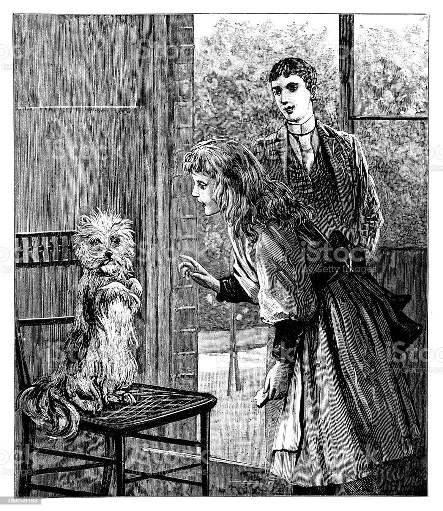 Girl Training Dog vector art illustration