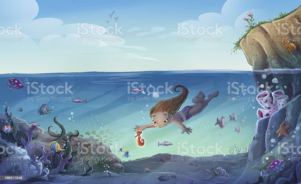 Girl under the sea royalty-free stock vector art