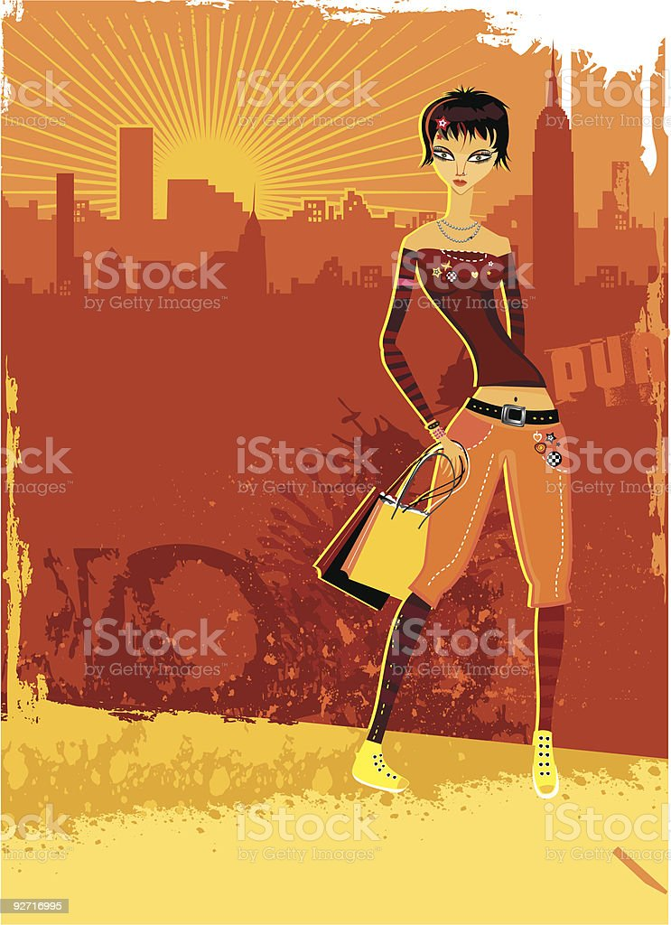 Girl walking with packages. royalty-free stock vector art