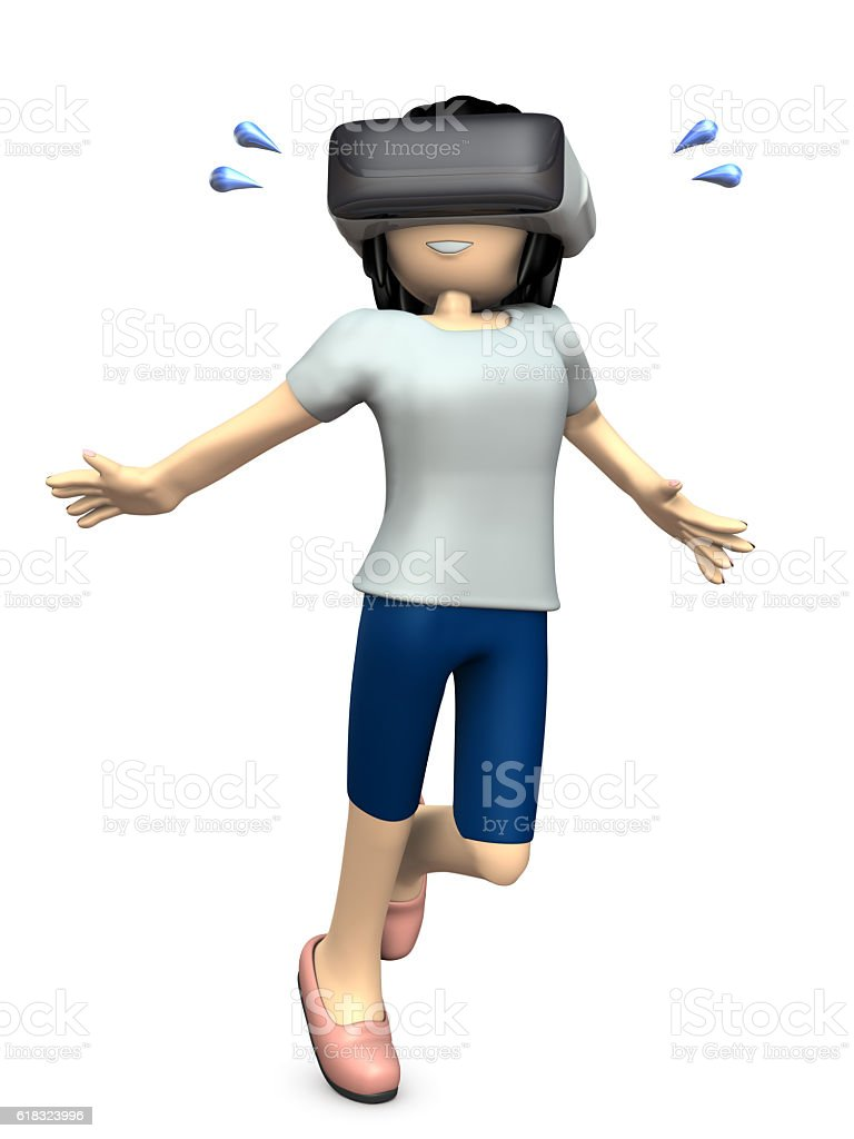 Girl wearing the apparatus of virtual reality. stock photo