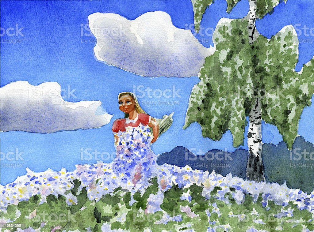 girl with a bouquet of daisies vector art illustration