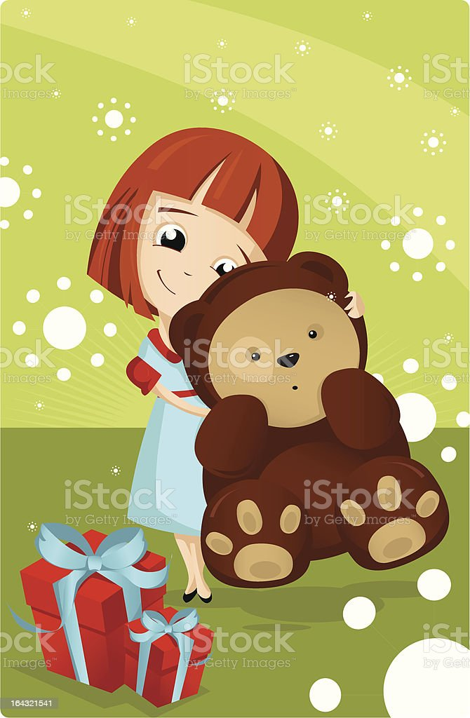 Girl with a teddy bear and gifts royalty-free stock vector art