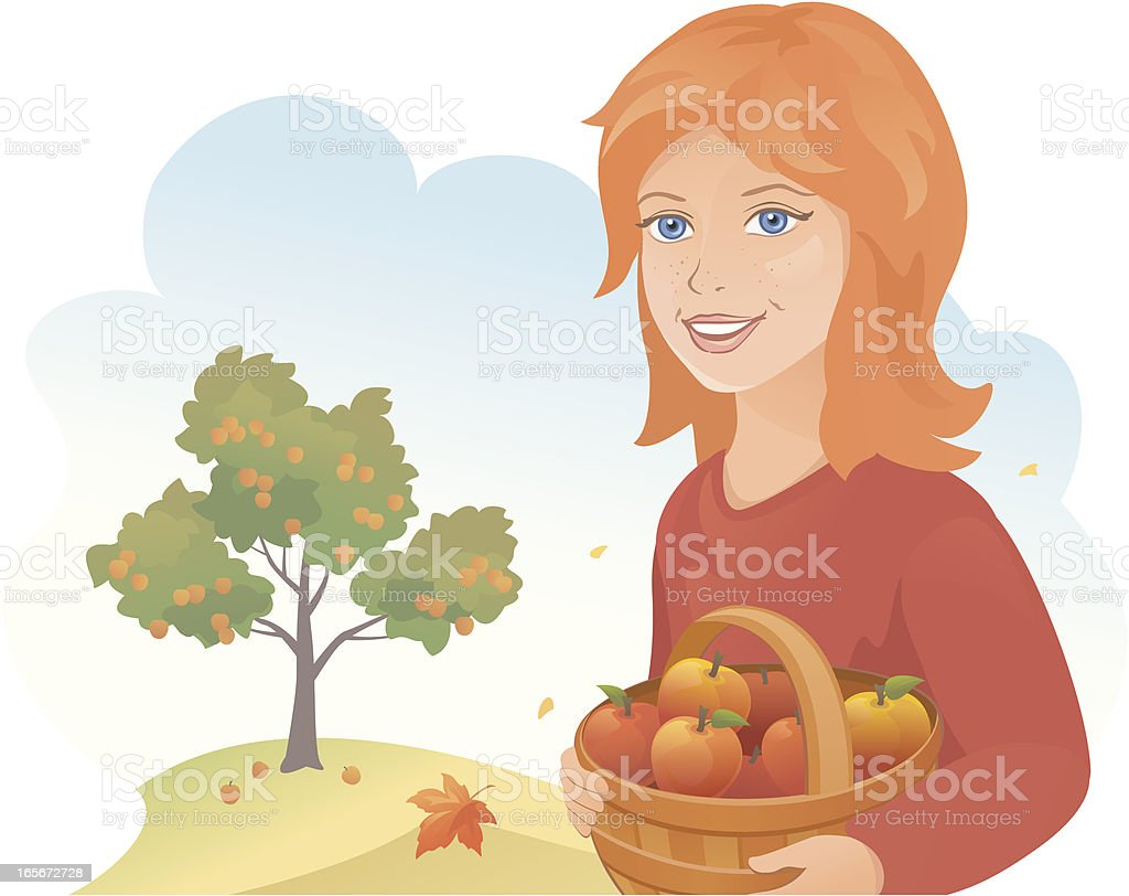 Girl with apples royalty-free stock vector art