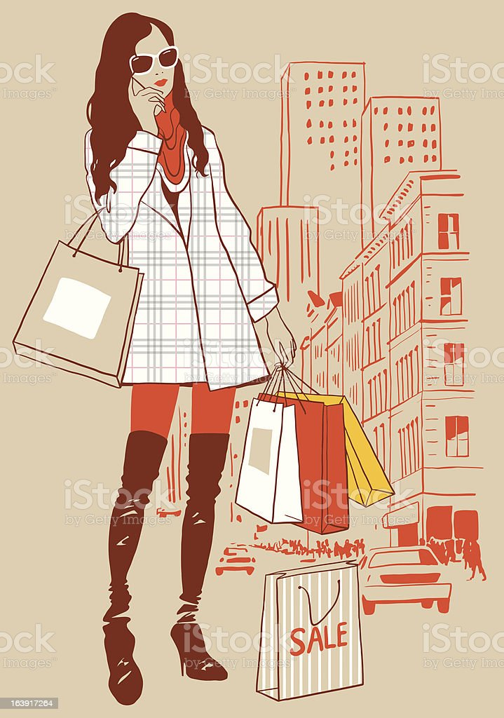 Girl with bag royalty-free stock vector art