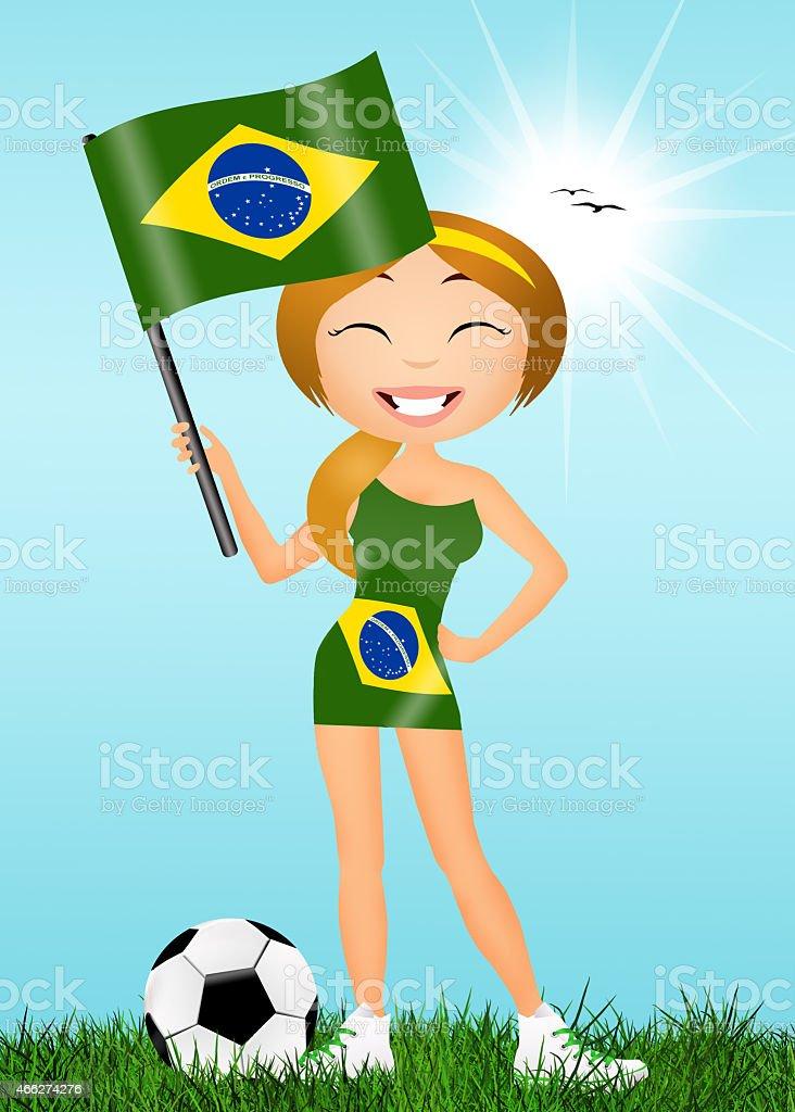 girl with Brazilian flag vector art illustration