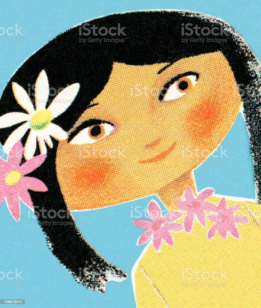 Girl with flowers in her hair vector art illustration