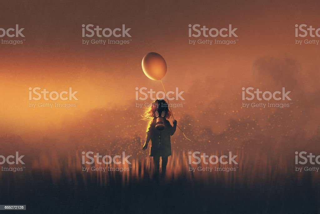 girl with gas mask holding balloon standing in fields at sunset vector art illustration
