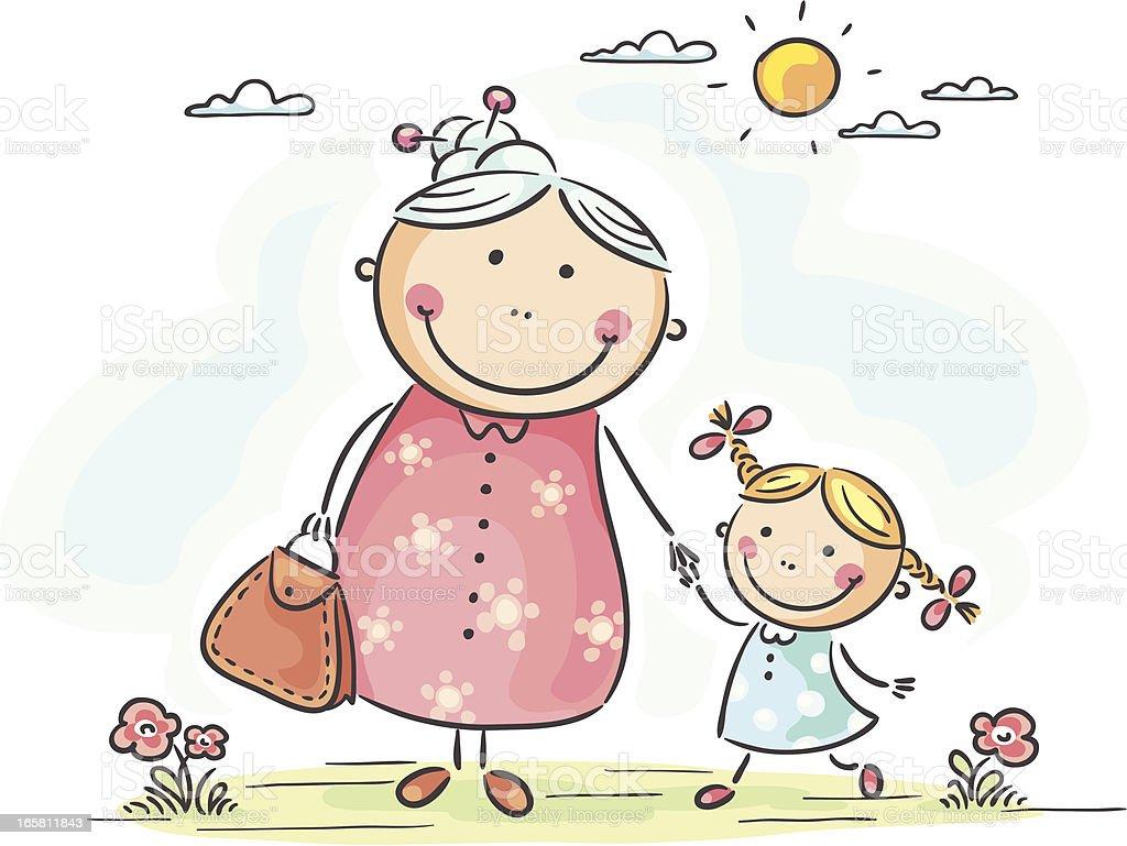 Girl with granny vector art illustration