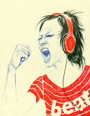 Girl with headphone singing along with music
