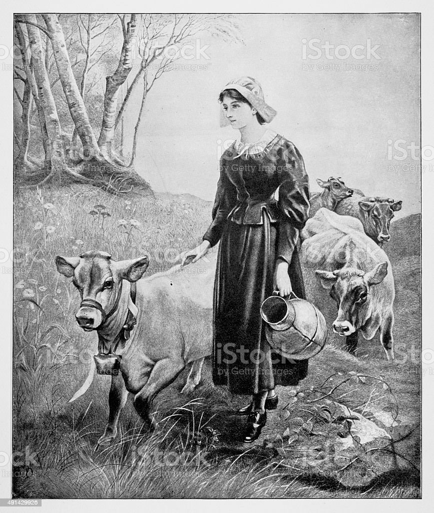 Girl With Her Cows vector art illustration