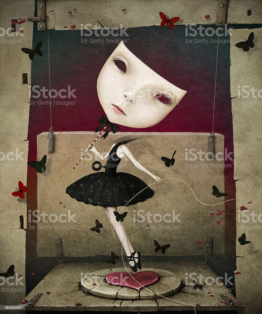 Girl with mask and heart vector art illustration