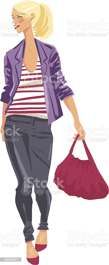 Girl with red bag royalty-free stock vector art