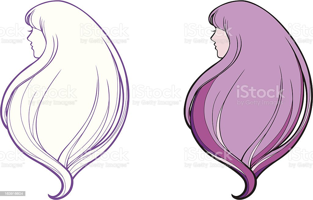 Girl with rich hair royalty-free stock vector art