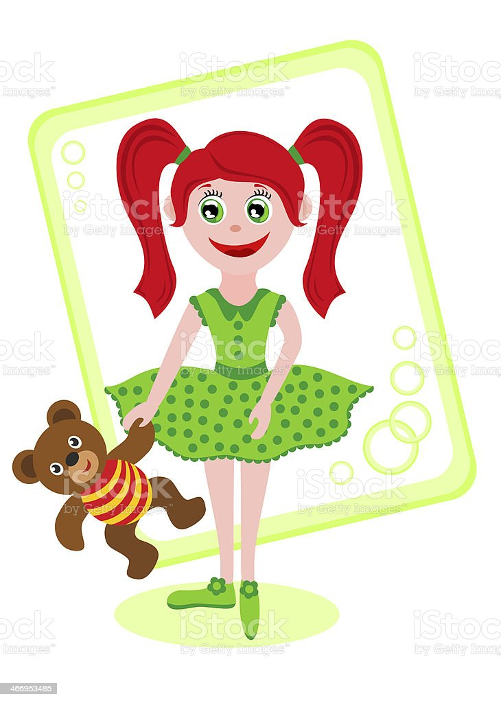 girl with toy bear royalty-free stock vector art
