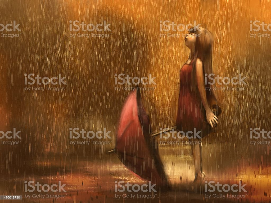 Girl with umbrella in the rain vector art illustration