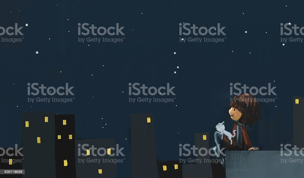Girl with white cat in the night city illustration vector art illustration
